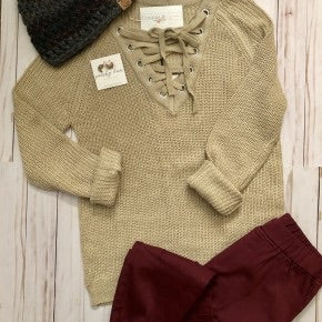 Virginia Lace Up Neck Sweater
