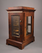 Load image into Gallery viewer, Mahogany Four Glass Library clock by Cousens and Whiteside of London.