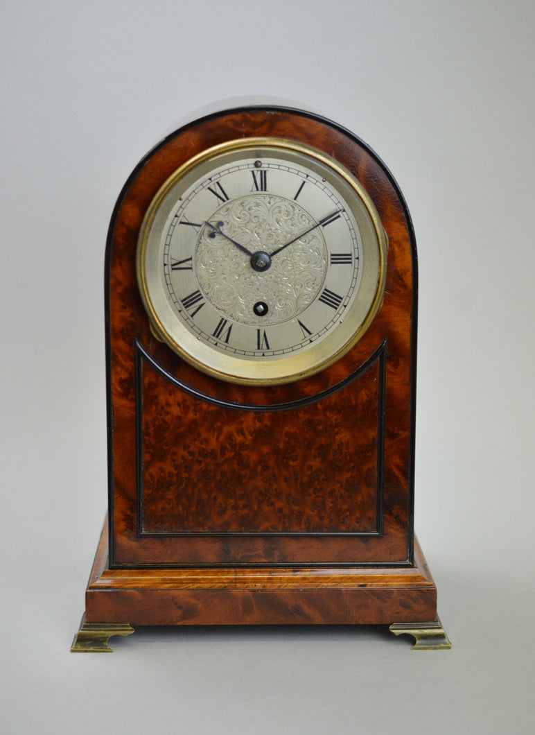 Fusee Timepiece by 'Barraud and Lund - London' Burr Yew Veneer, circa 1850.