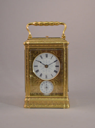 Engraved Gorge Cased Carriage Clock by Soldano Circa 1860