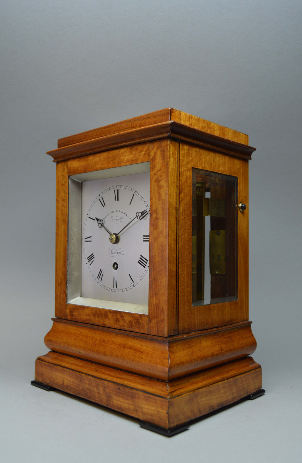 Exquisite small library timepiece in very fine Satinwood case. - SOLD