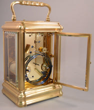 Load image into Gallery viewer, Carriage clock with engraved dial mask by Drocourt.