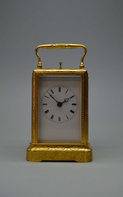 Engraved Carriage Clock by Alliez and Bergere No. 205