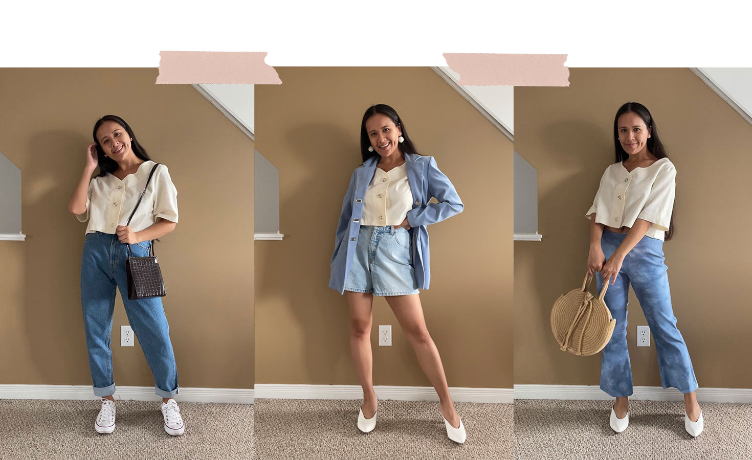 how to style the glass garden blouse in spring with nini