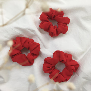 Crepe Crimson Scrunchie