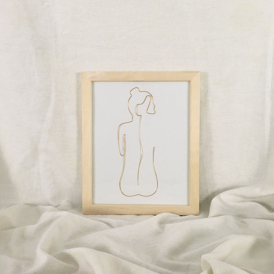 Bare Wire Art - natural frame, gold wire