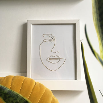 Contour wire art - white frame lifestyle