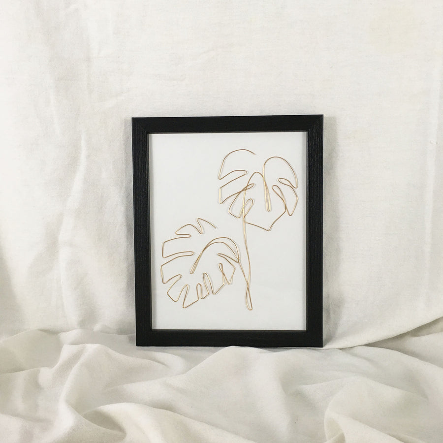 Double Monstera Wire Art - black frame, gold wire