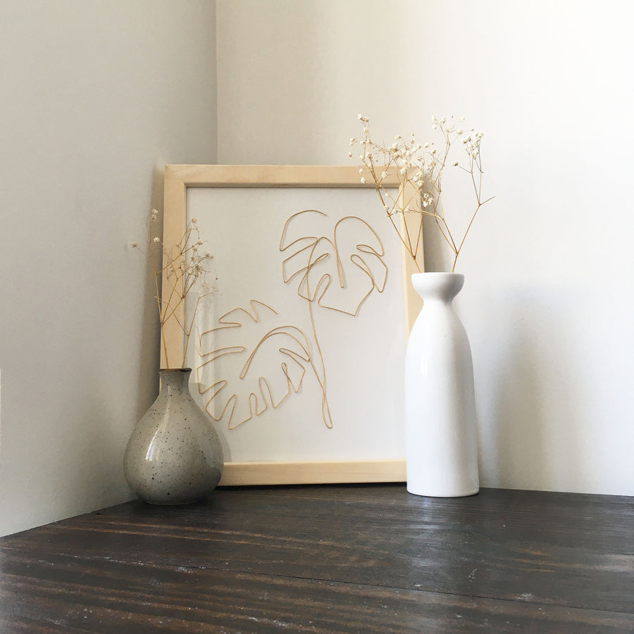 Double Monstera Wire Art - natural frame lifestyle