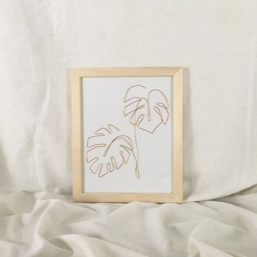 Double Monstera Wire Art - natural frame, gold wire