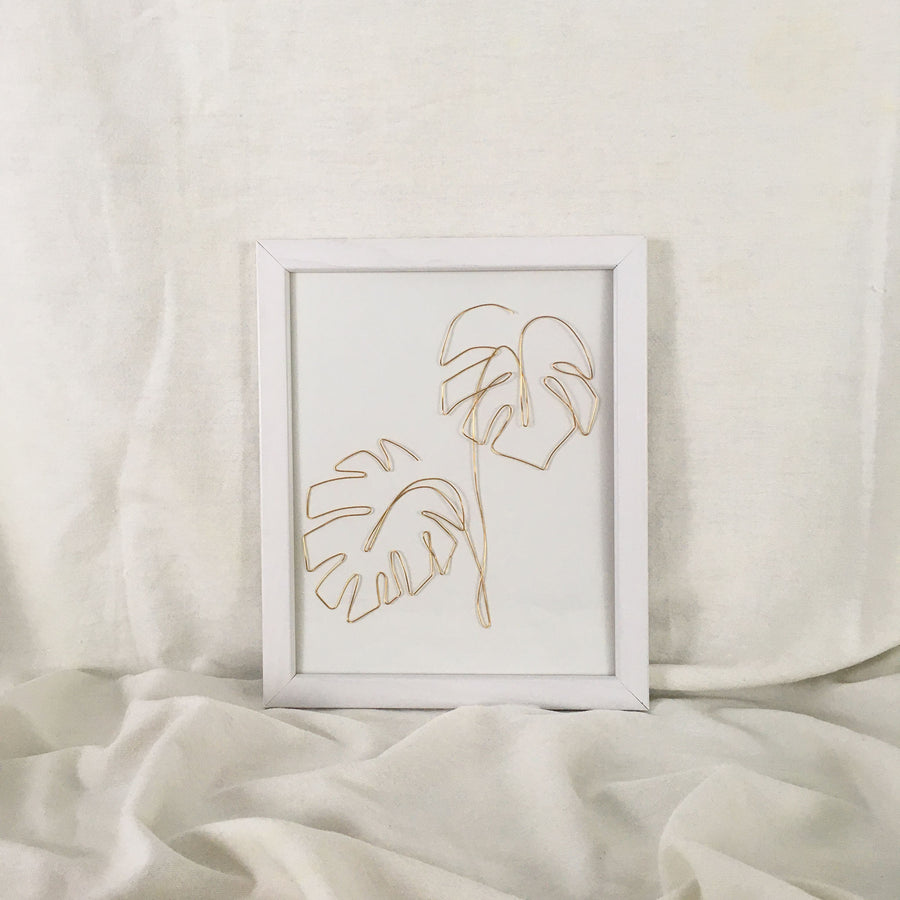Double Monstera Wire Art - white frame, gold wire