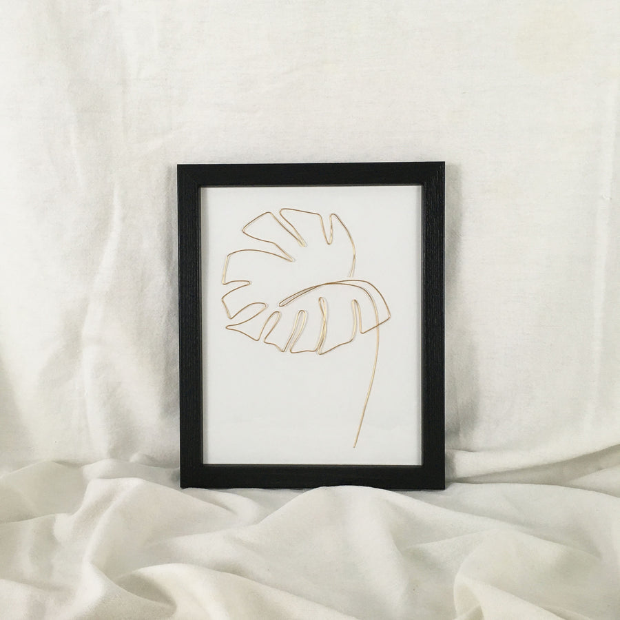 Monstera Wire Art - black frame, gold wire