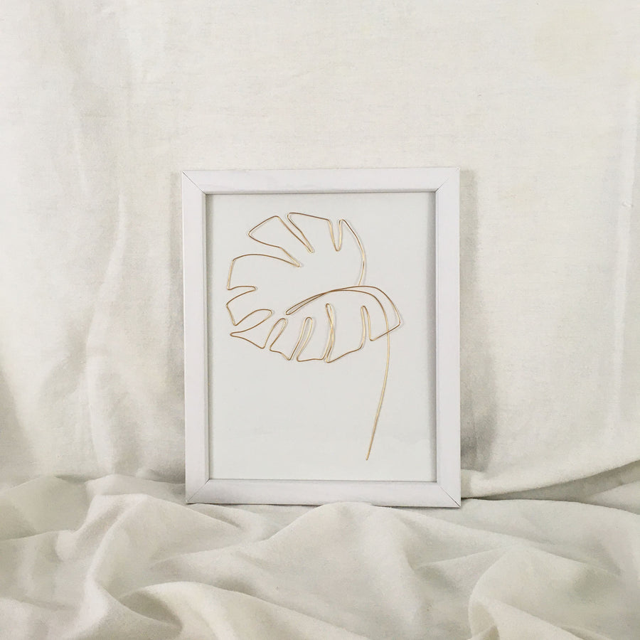 Monstera Wire Art - white frame, gold wire
