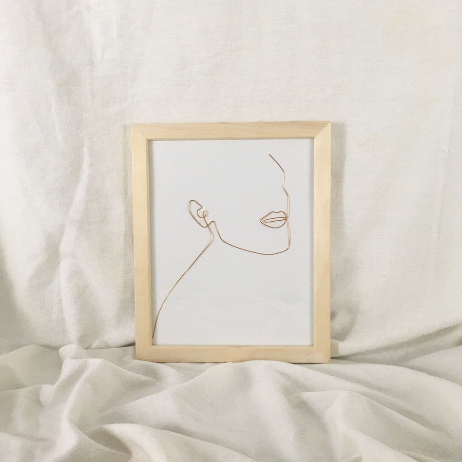 Unwind Wire Art - natural frame, gold wire