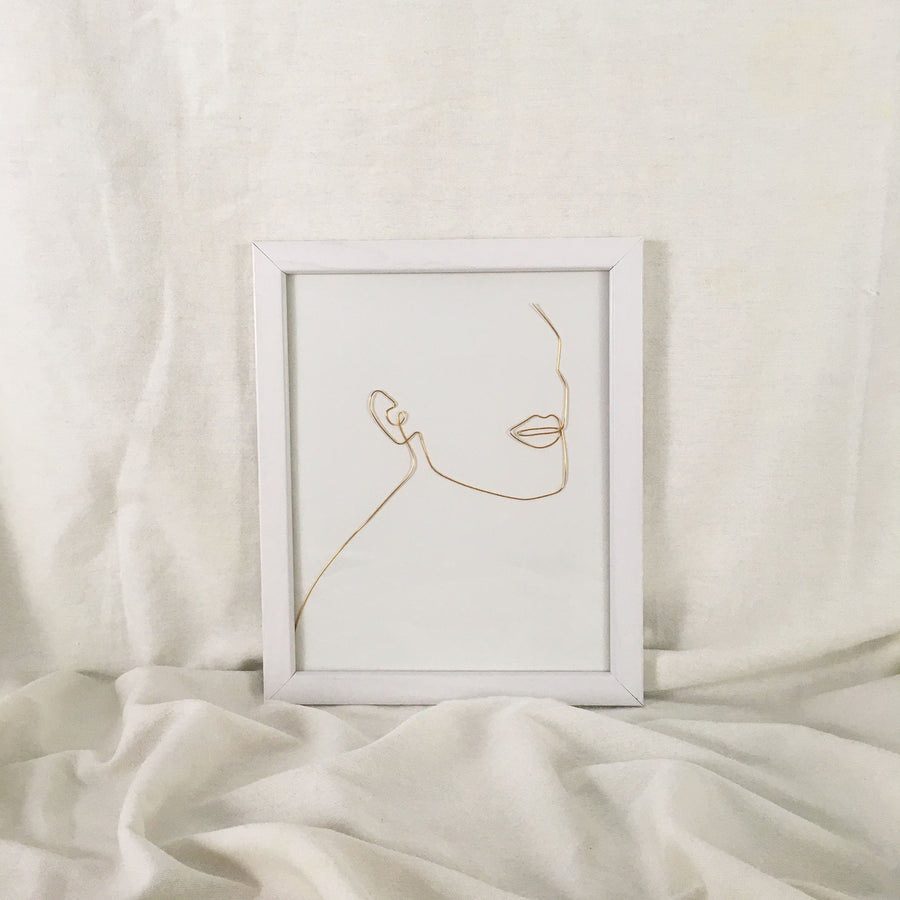 Unwind Wire Art - white frame, gold wire