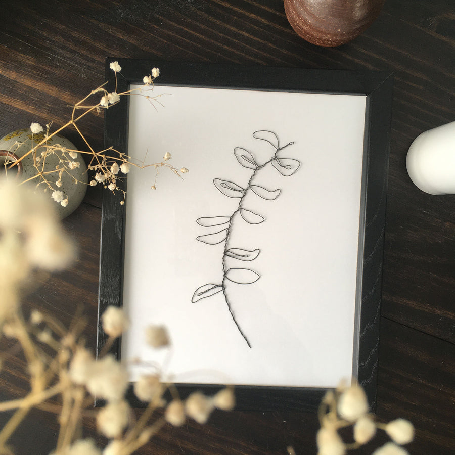 Wilted Wire Art - black frame lifestyle