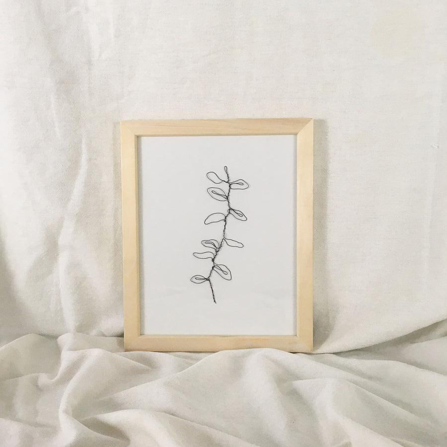 Wilted Wire Art - natural frame, black wire