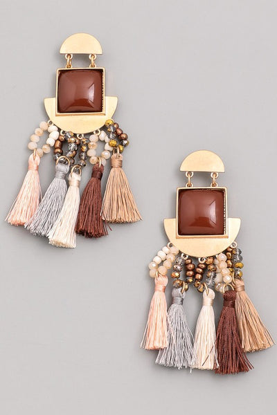 L & S Square Gem Multi Tassel Drop Earrings - LS Moda