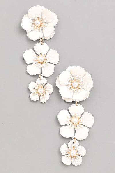 L & S Tiered Flower Drop Earrings - LS Moda