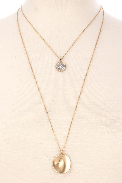 L & S Delicate Layered Coin Stud Pendant Necklace - LS Moda