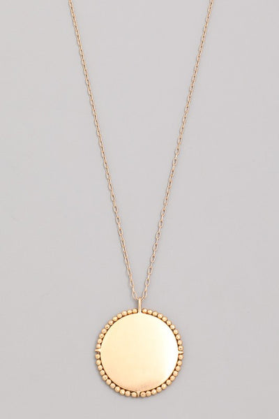 L & S Smooth Edge Beaded Disc Pendant Necklace - LS Moda