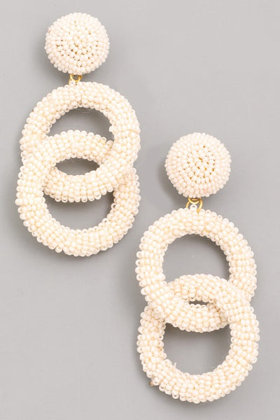 L & S Mini Bead Linked Ring Dangle Earrings - LS Moda