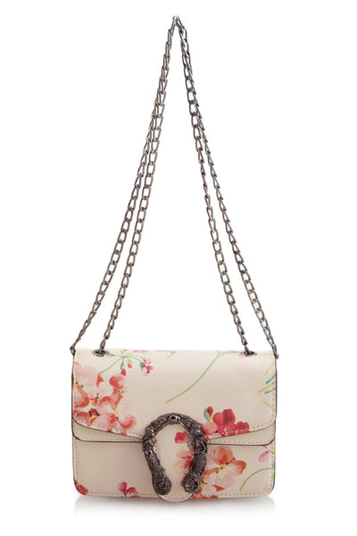 L&S Pink Floral Print with Snake Buckle Cross Body Bag