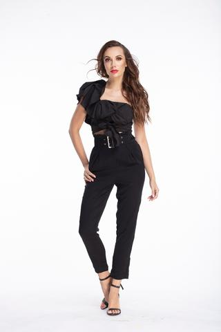 L & S Black Belted paper bag pants - LS Moda