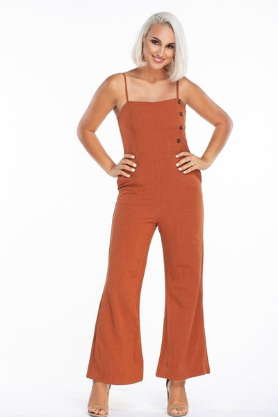 L & S Open shoulder overall jumpsuit - LS Moda