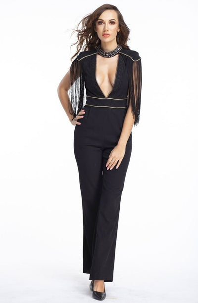 L & S Black wide leg jumpsuit - LS Moda