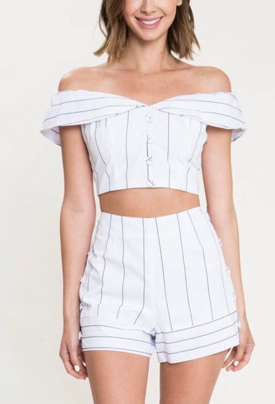 L & S Ivory crop top two piece - LS Moda
