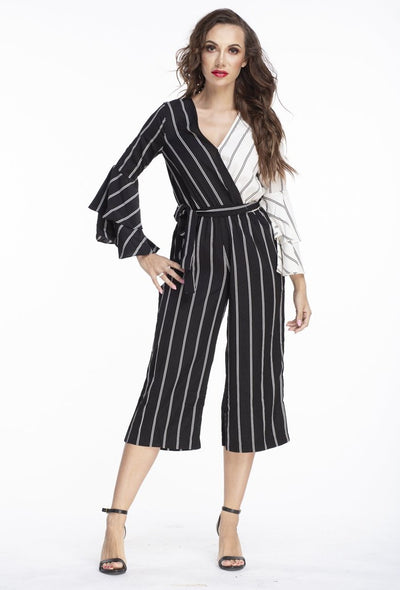 L & S Striped color block jumpsuit - LS Moda
