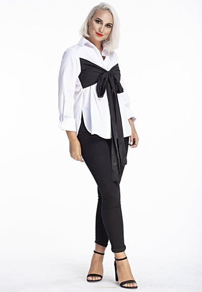 L & S white and black long sleeve top - LS Moda