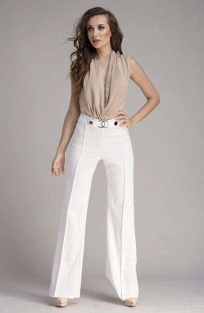 L & S High Waist Pants with Gold Trim - LS Moda