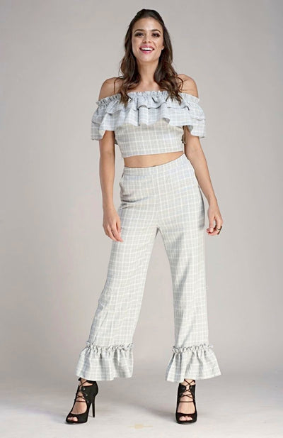 L & S Two piece pant set in plaid fabrication - LS Moda