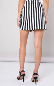 L & S Point Button Stripe Skirt