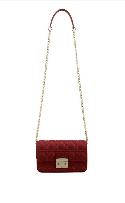 L&S Red Quilted jelly Cross Body Bag
