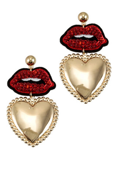 Lip and gold heart