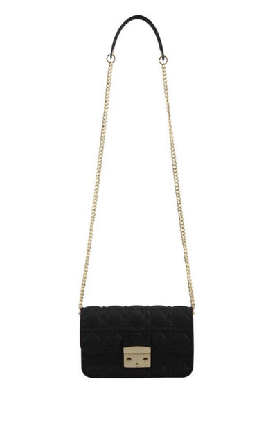 L&S Black Quilted jelly Cross Body Bag
