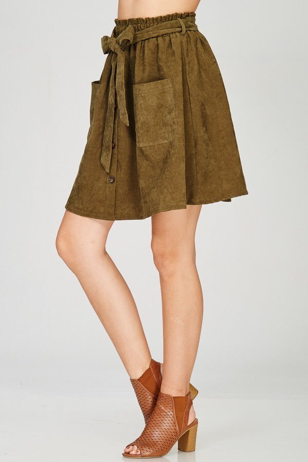 L & S Tie front button down skirt - LS Moda