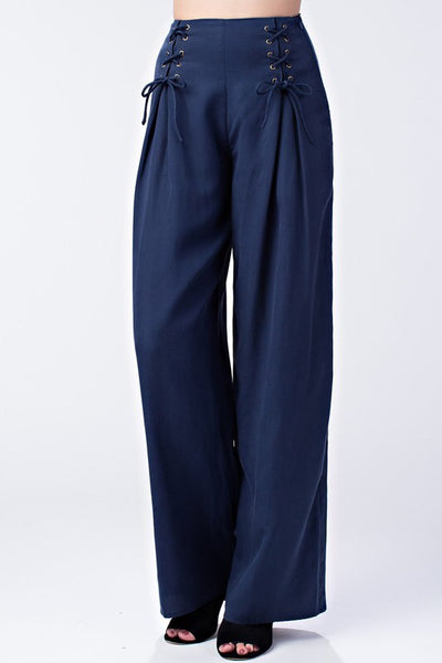 L & S High waisted pants with lace up detail - LS Moda