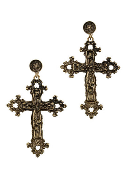 L&S Antique Cross Dangle Earring