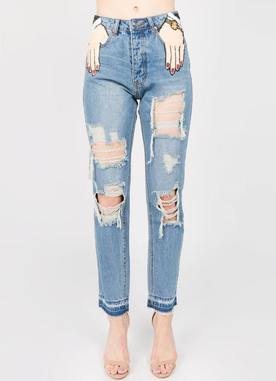 L & S HANDS PAINTED POCKET DISTRESSED JEANS - LS Moda
