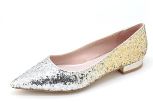 Glitter Pointed Toe Ballet Flats (S/Gold)