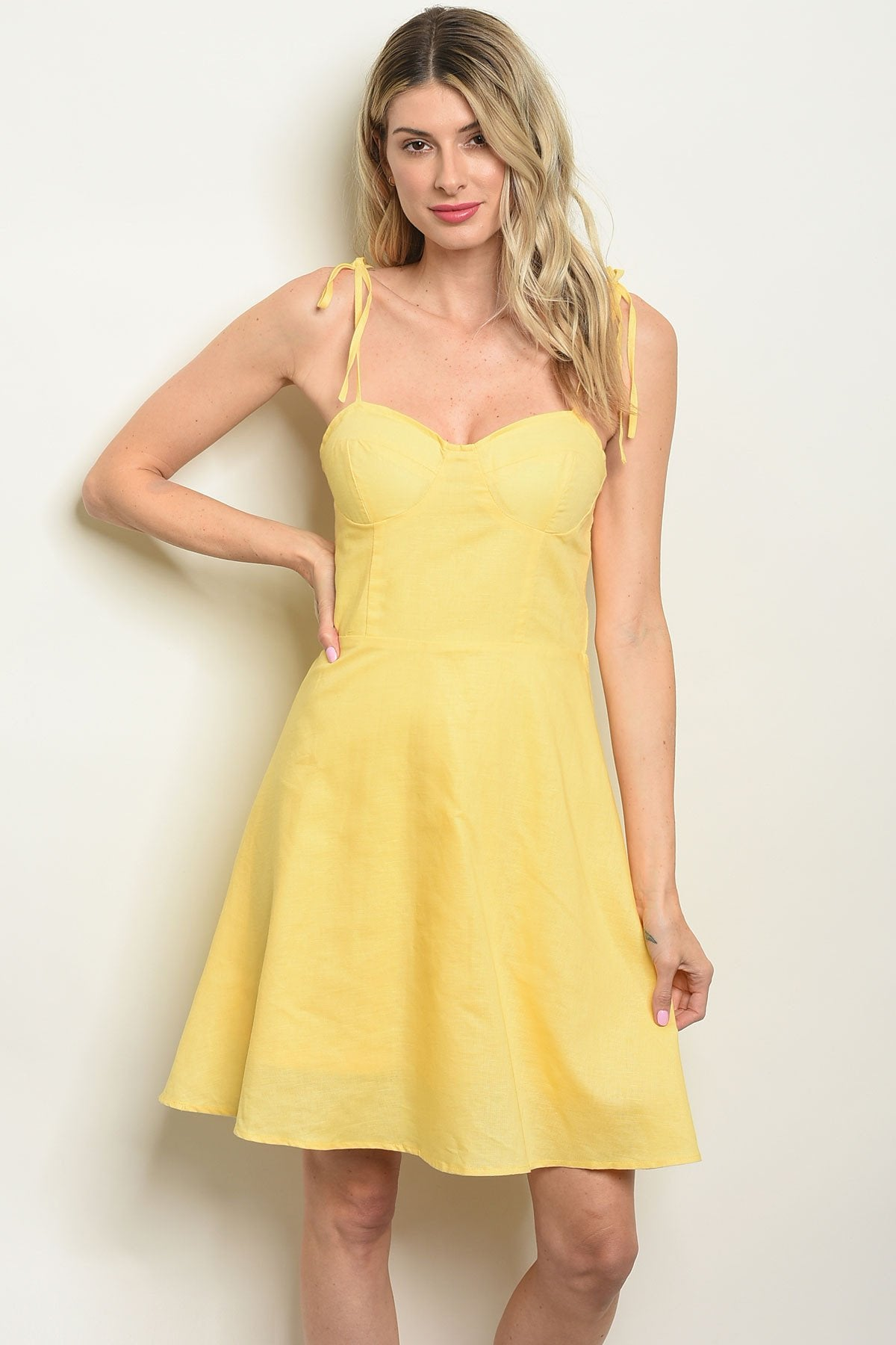 Womens Yellow Skater Dress