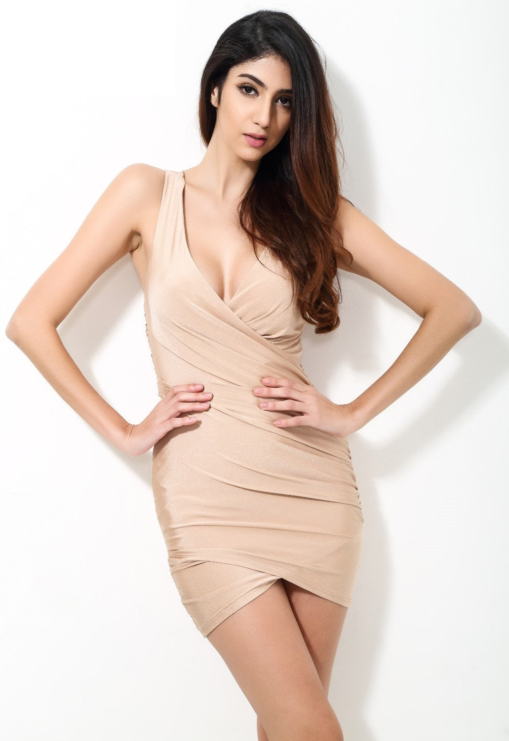 Solid Nude Fitted Party Dress