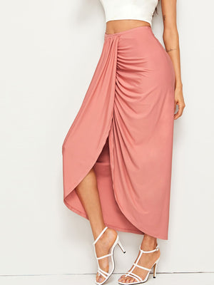 High Waist Draped Skirt