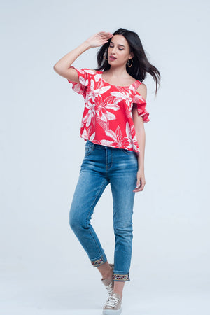 Red flower top and ruffles detail