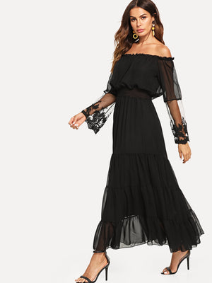 Off Shoulder Mesh Overlay Tiered Dress