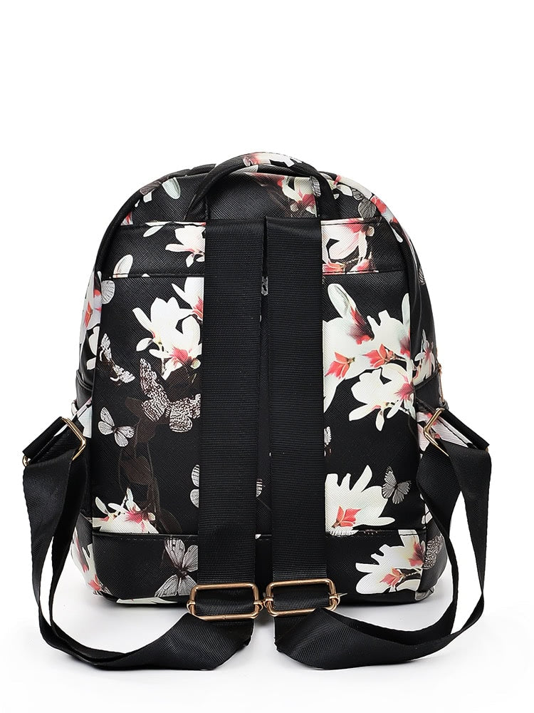 Vintage Flower Print Backpack